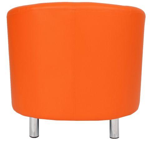 Zoron Orange Leather Tub Chair With Chrome Feet Rear View