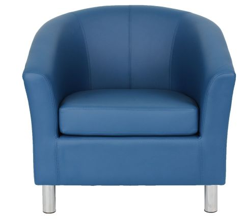 Zoron Navy Bllue Tub Chairs With Chrome Legs Front View