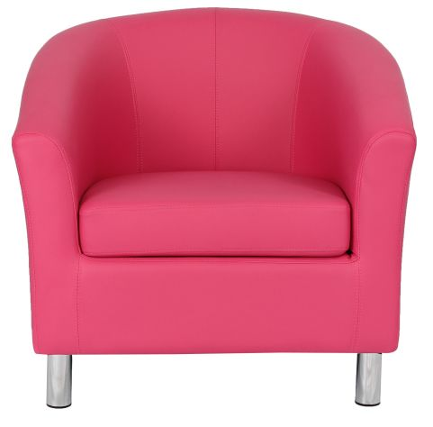 Zoron Pink Leather Tub Chair With Chrome Feet Front View