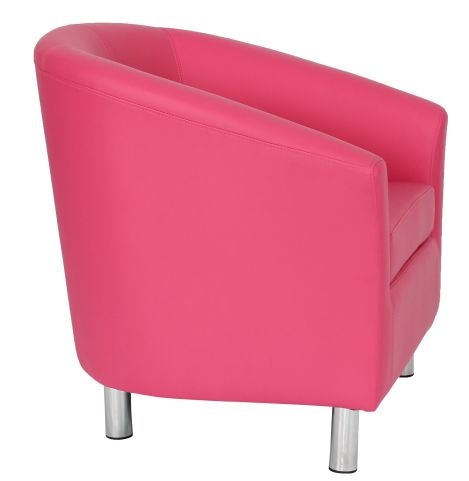 Zoron Pink Leather Tub Chair With Chrome Feet Side View