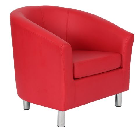 Zoron Red Leather Tub Chair With Chrome Feet Front Angle