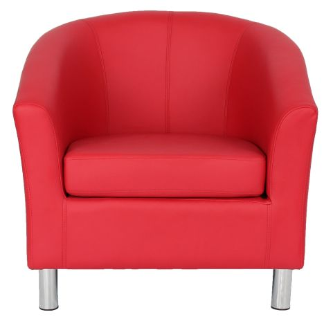 Zoron Red Leather Tub Chair With Chrome Feet Front View
