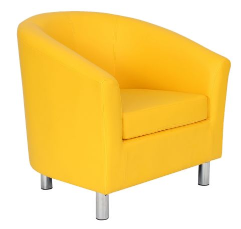 Zoron Tub Chair In Yellow With Chrome Feet Front Angle View