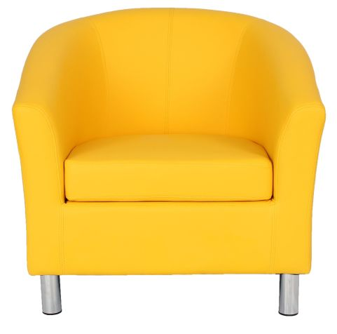 Zoron Tub Chair In Yellow With Chrome Feet Front View