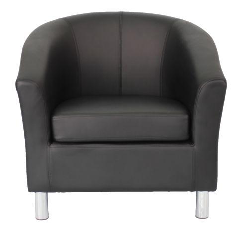 Zoron V2 Tub Chair Black Leather Chrome Feet Front View