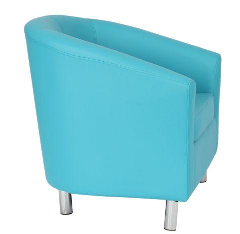 Zoron Light Blue Fauix Leather Tub Chairs With Chrome Feet
