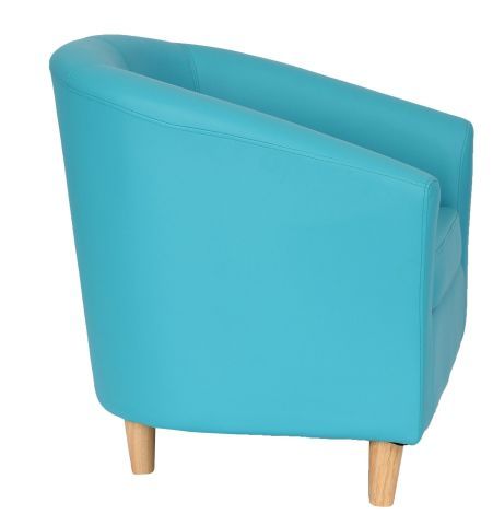 Zoron Light Blue Tub Chairs With Wooden Feet Side View