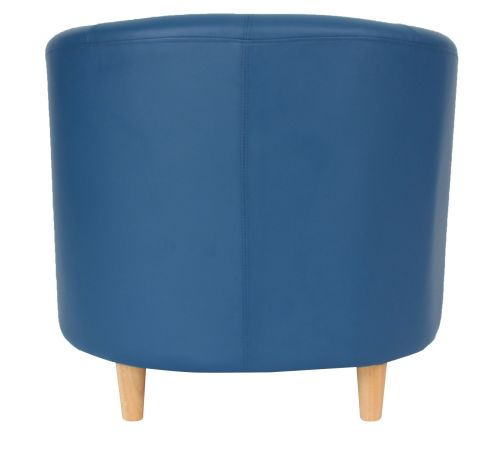 Zoron Navy Blue Leather Tub Chairs Rear Angle