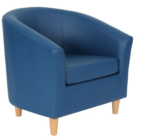 Zoron Navy Blue Tub Chairs With Wooden Feet Front Angle View