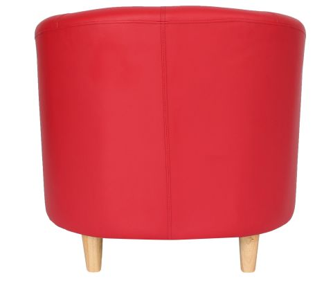 Zoron Red Tub Chair With Wooden Feet Rrear View