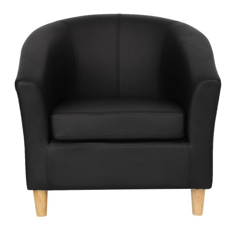 Zoiron Tub Chair Black With Wooden Legs Front View