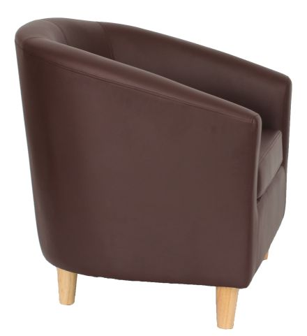 Zoron Tub Chair In Brown With Wooden Kfeet Side View