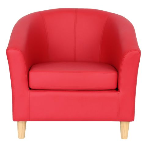 Zoron Tub Chair In Red With Wooden Legs Front Shot