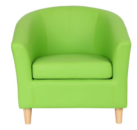 Zoron Tub Chair With Wooden Feet Lime Green Front Shot