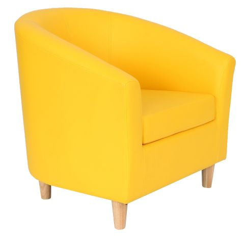 Zoron Tub Chairs In Yellow Front Angle