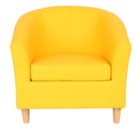 Zoron Yellow Tub Chaire With Wooden Feet Front View