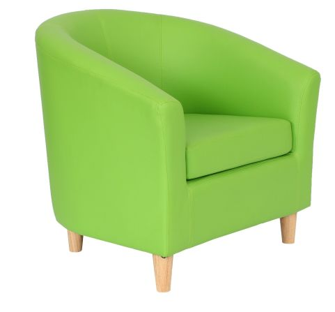 Zoron Tub Chairs With Wooden Feet Lime Green Front Angle