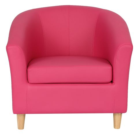 Zoron Tub Chair In Pink With Wooden Legs Front View
