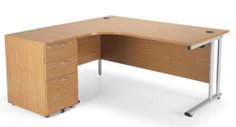 Flite Corner Desk And Desk Height Pedestal