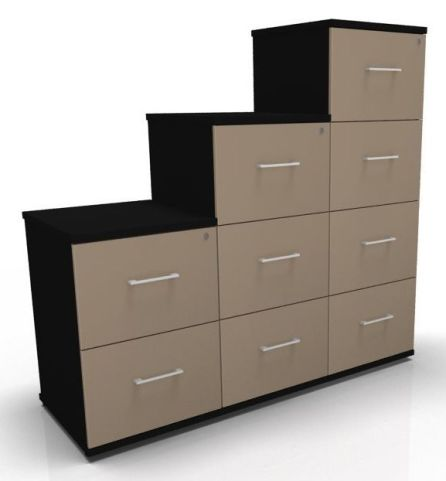 Avalon Prime Two Tone Wooden Filing Cabinets Mocha And Black