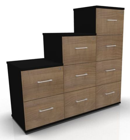 Avalon Prime Two Tone Wooden Filing Cabinet Santiago Cherry And Black