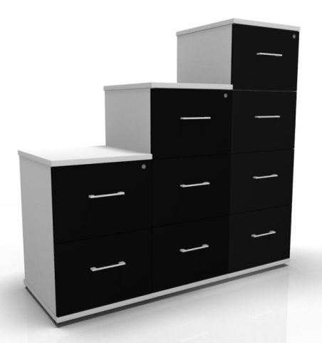 Avalon Prime Two Tone Wooden Filing Cabinets Black & White