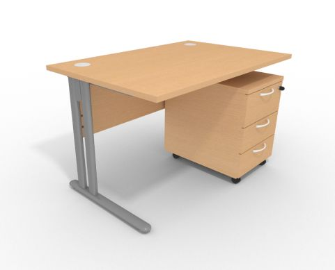 Optimize Desk 1200mm Cantiliver Frame With Pedestal Beech