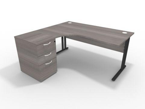 1600mm Corner Desk Cedar With Desk High Pedestal