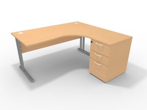 Optimize 1600mm Right Hand Desk With Desk High Pedestal