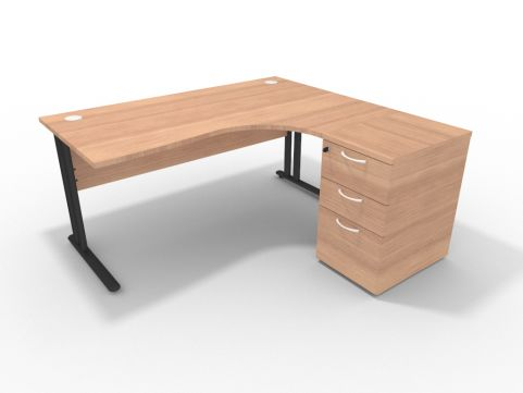 Right 1600mm Corner Desk Natural Cherrywood With Desk High Pedesal