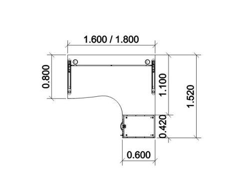 Right Hand Desk 1600mm Dimensions