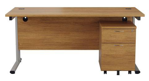 Flite Desks And Two Darwer Mobile Pedestal In Light Walnut