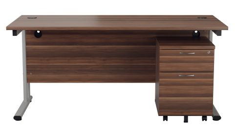 Flite Rectangular Deska And Two Drawer Pedestal In Dark Walnut