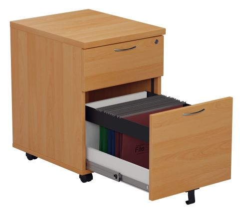 Rapido Two Drawer Mobile Pedstl In Beech Showing Lopen File Drawer