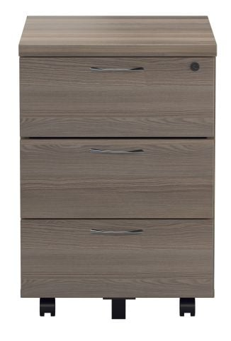 Rapido Three Drawer Mobile Pedestal In Grey Oak