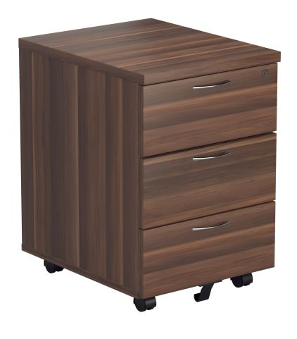 Rapido Three Drawer Mobile Pedestal In Dark Walnut