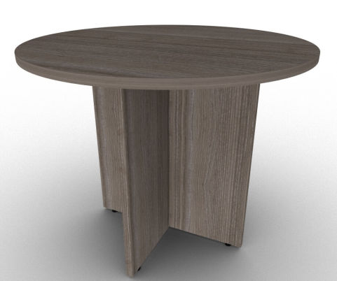 Avalon Anthracite Circular Meeting Table With Sturdy Arrowhead Base, Constructed From Scratch Resistant MFC