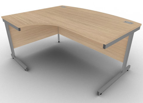 Avalon Verade Oak Left Hand Bow Fronted Office Corner Desk, Free Delivery, 5 Year Warranty
