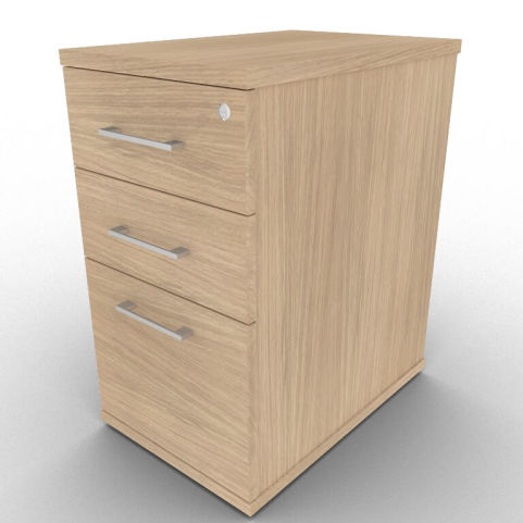 600mm Deep Verade Oak Three Drawer Pedestal, Perfect For Additional Desk Storage, Lockable Top Drawer
