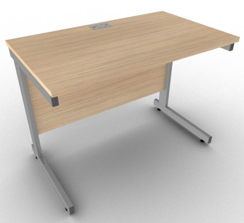 Avalon Shallow Desk In Verade Oak With Heavy Duty Metal Frame, 17 Finishes, Compact Writing Desk