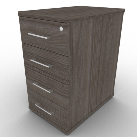 Avalon Four Drawer Pedestal With 600mm Deep Drawers, In Anthracite, Free Installation