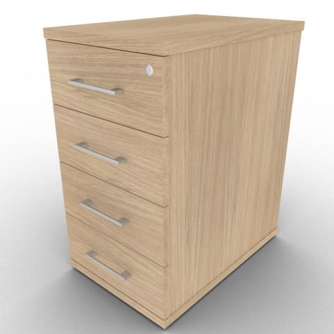 Avalon Four Drawer Pedestal With 600mm Deep Drawers, In Verade Oak, 17 Finishes