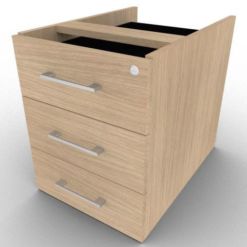 Three Drawer Verade Oak Suspended Pedestal For Avalon Desks, 5 Year Warranty