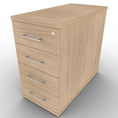800mm Deep Lockable 4 Drawer Pedestal Designed To Extend The Overall Desk Space, Light Verade Oak Finish