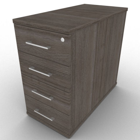 Avalon Four Drawer Pedestal With Lockable Top Drawer And Three Other Spacious Drawers, Anthracite Finish With 800mm Deep Storage Area