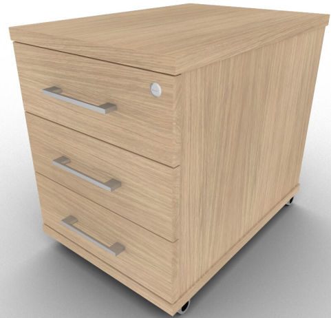 Three Drawer Mobile Pedestal In Verade Oak From Our Avalon Range