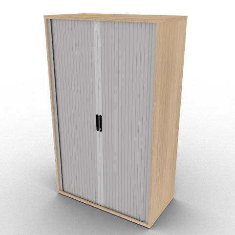 Verade Oak Avalon Storage Cabinet With Sideways Closing Silver Shutter, Delivered Fully Assembled