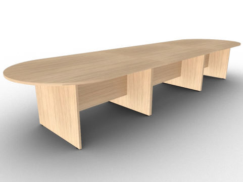 Verade Oak Large Sectional Conference Table With Side Panel Legs, Constructed From Scratch Proof MFC