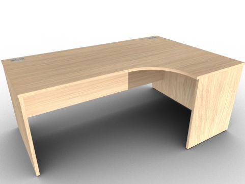 Verade Oak Right Hand Corner Desk With Side Panels, Free Delivery And Installation, Five Year Warranty