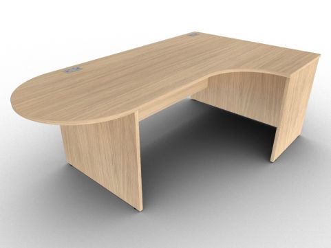 Verade Oak Right Hand Interactive Corner Desk With Side Panels, Free Delivery And Installation